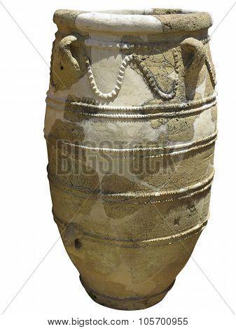 Ancient Clay Minoan Amphora In Crete, Greece