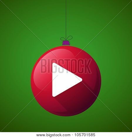 Long Shadow Christmas Ball Icon With A Play Sign