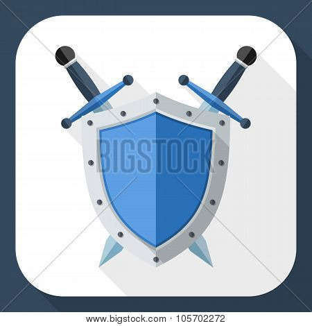 Shield And Sword Icon With Long Shadow