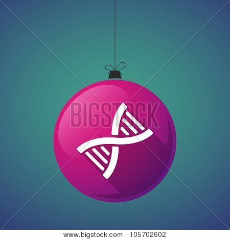 Long Shadow Christmas Ball Icon With A Dna Sign