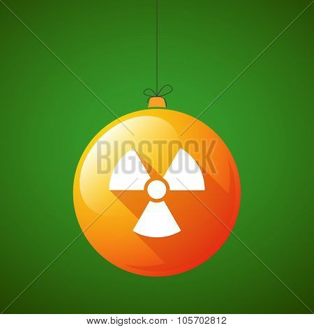 Long Shadow Christmas Ball Icon With A Radio Activity Sign