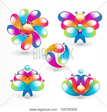 Abstract colorful arc-drop design element. Vector.