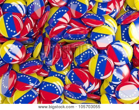 Background With Round Pins With Flag Of Venezuela