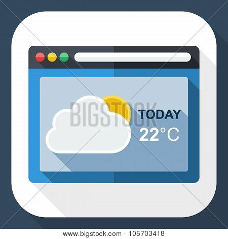 Weather Forecast Application Icon With Long Shadow