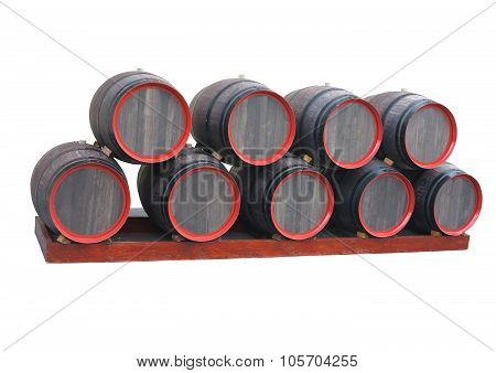 Old Wooden Barrels With Red Circles Isolated Over White