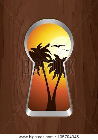 Sunset On The Sea And Palm Trees Are Seen Through The Keyhole. Vector Illustration