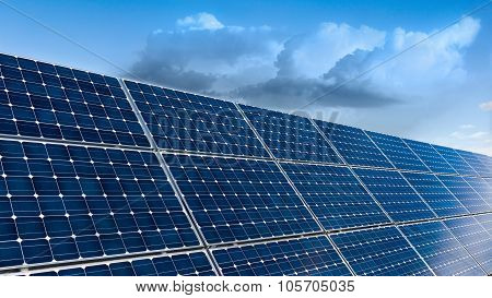 Solar Panels And Cloudy Sky Background
