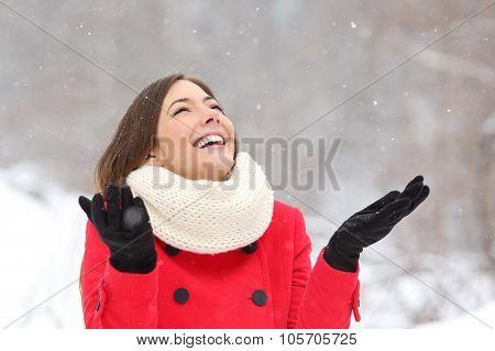 Candid Happy Girl Enjoying Snow In Winter