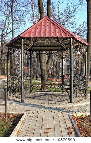 metal gazebo in a city park
