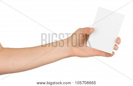 Humans left hand holding small blank paper