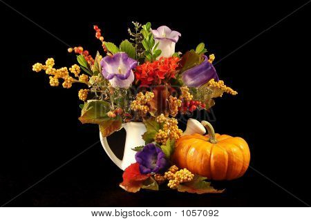 Floral Still Life With Pumpkin