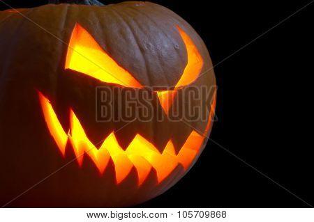 Scary Face Of Jack O Lantern On Black Background