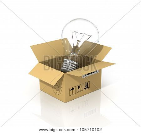 Concept Of Saving Energy. The Lightbulb In The Cardboard Box. Enviroment Protection.