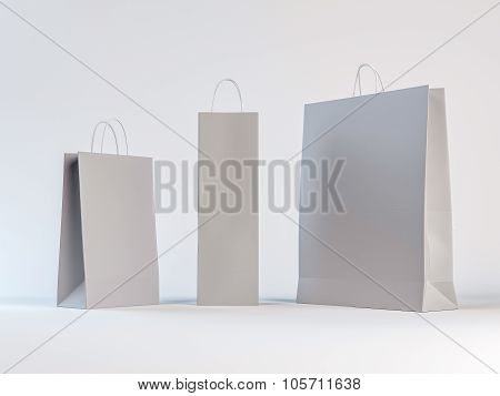 Paper Bags On White Background - Mock Up