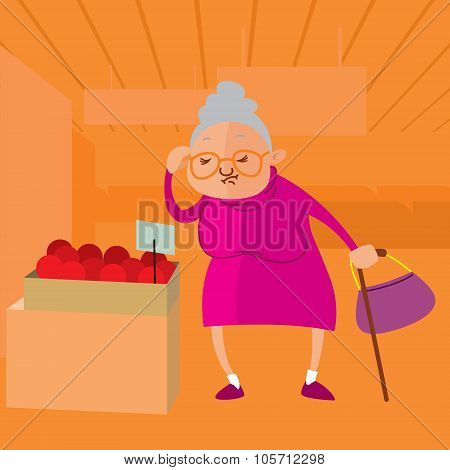 Senior Woman Choosing Fruits