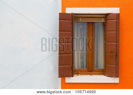 Orange-white Wall And Window Close Up, A House Wall Fragment On Burano's Island, Venice