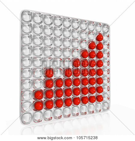 Growth Bar Chart Of Red Balls On Silver Tray