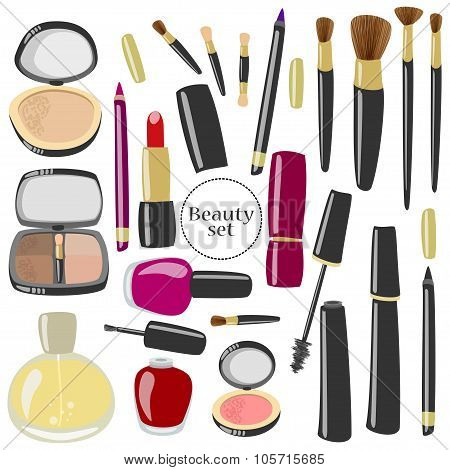 Vector Make Up And Beauty Products Set.