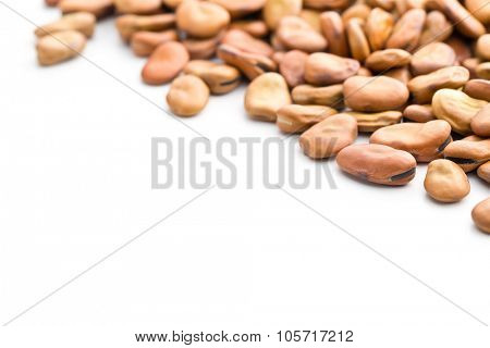 dried broad beans on white background