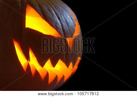 Scary Face Of Jack O Lantern On Black Background