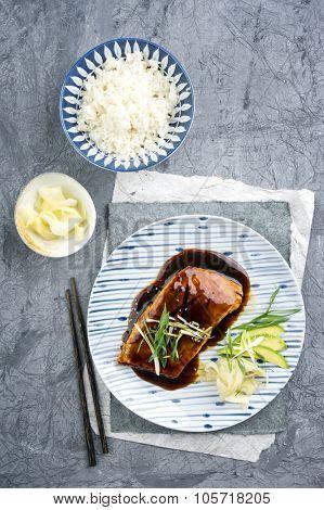 Salmon Teriyaki with Vegetable and Ginger