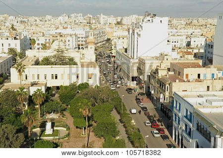 Aerial view to the historical city center of Sfax in Sfax, Tunisia.