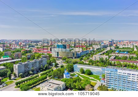 Aerial view on hospital and university. Tyumen