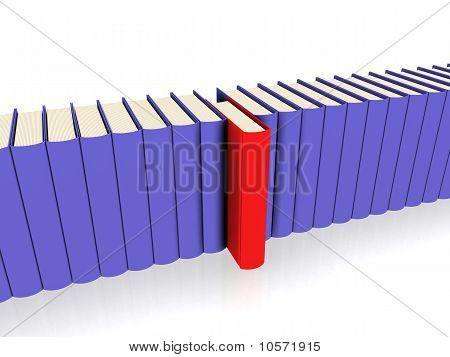 Books in a line - perspective