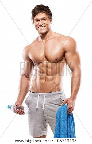 Strong Athletic Man  Showing Big Biceps And Abdominal Muscles