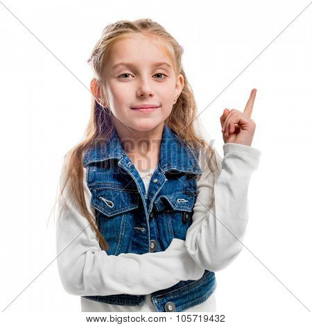 little girl with her finger pointing upwards isolated on white background