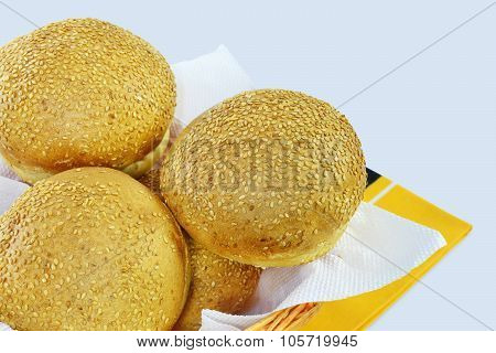 Round Sandwich Buns With Sesame Seeds
