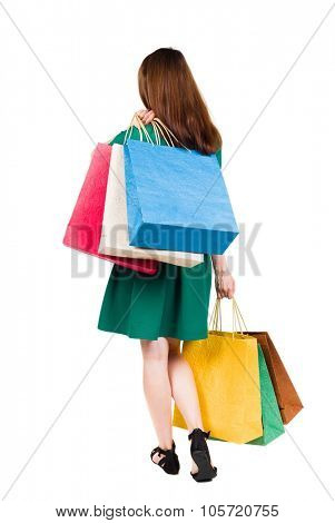 back view of going  woman woman with shopping bags. beautiful brunette girl in motion.  backside view of person.  Rear view people collection. Isolated over white background.