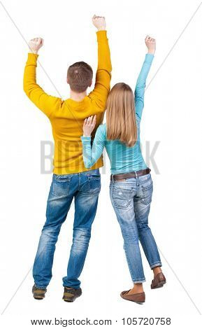 Back view of dancing young couple(men and women). Dance party. girls and guys teens dance, enjoy and express positive emotions and having fun. backside view of person. Isolated over white background.