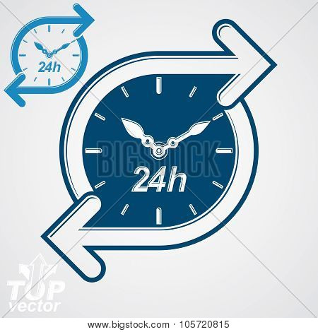 Simple Vector 24 Hours Timer, Around-the-clock Flat Pictogram. Twenty-four Hours A Day Interface Ico
