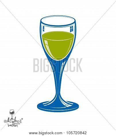 Realistic 3D Wineglass, Beverage Theme Illustration. Decorative Artistic Lounge Object, Leisure And
