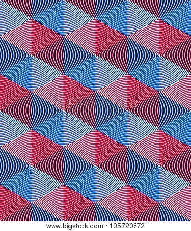 Regular Colorful Endless Pattern With Intertwine Three-dimensional Figures, Continuous Illusory Geom