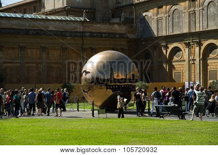 Sphere Within Sphere By Sculptor Arnaldo Pomodoro