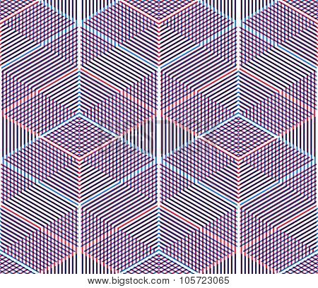 Graphic Seamless Abstract Pattern, Regular Geometric Colorful 3D Background. Contrast Ornament, Eps1