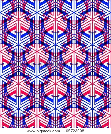 Bright Symmetric Seamless Pattern With Interweave Figures. Continuous Geometric Composition With Tra