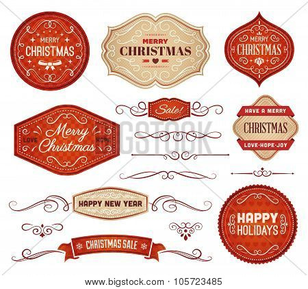 Red And Beige Christmas Labels And Ornaments