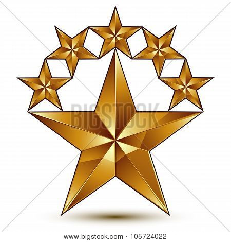 Geometric Vector Classic Golden Element Isolated On White Backdrop, 3D Decorative Pentagonal Stars,