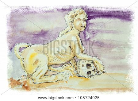 Sphinx Watercolor Illustration