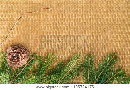 Braided Christmas Background With Fir Branches And Bumps