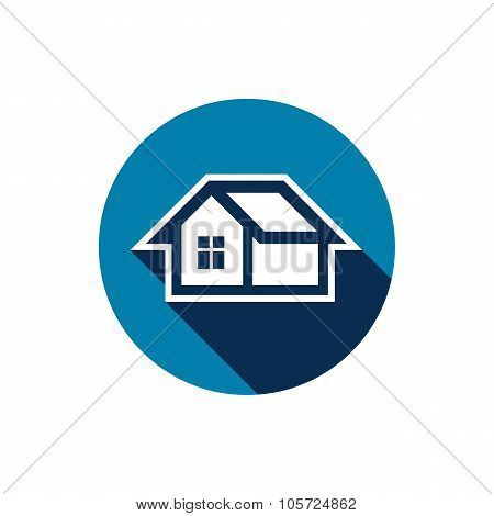 Real Estate Icon Isolated On White, Abstract House Depiction. Property Developer Symbol, Conceptual