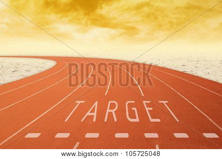 Outdoor Running Track With Sign Target With Desert At Sunset