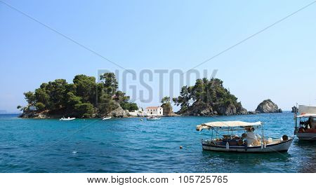 Church on small island Parga Greece and boats seascape ** Note: Soft Focus at 100%, best at smaller sizes