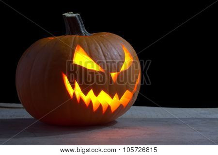Scary Halloween On Wood With Jack O Lantern
