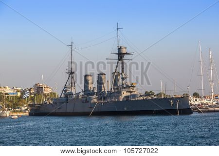 Warship In A Port Piraeus In Athens, Greece