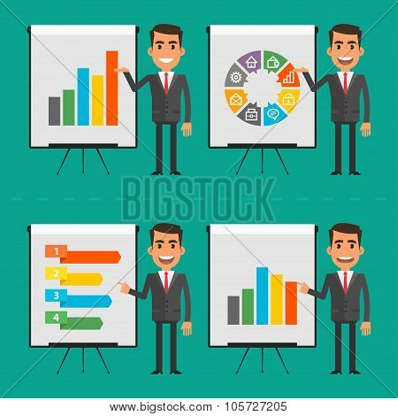 Infographics businessman indicates on flip chart