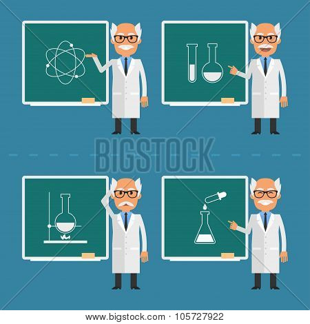 Old scientist indicates on chalkboard